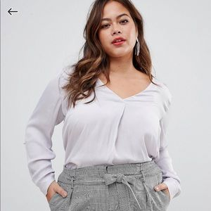 ASOS curve - new look- satin shirt in grey